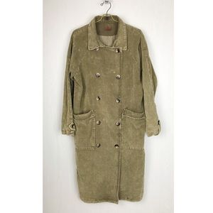 POL corduroy long jacket ribbed vintage green slit
